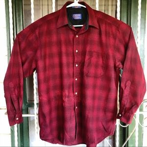 Pendleton 100% wool red plaid shirt mens sz large